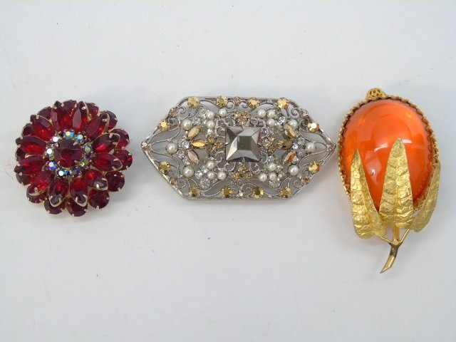 Assorted Vintage Costume Jewelry Pins & Brooches - 2
