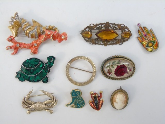 Assorted Vintage Costume Jewelry Pins & Brooches - 3