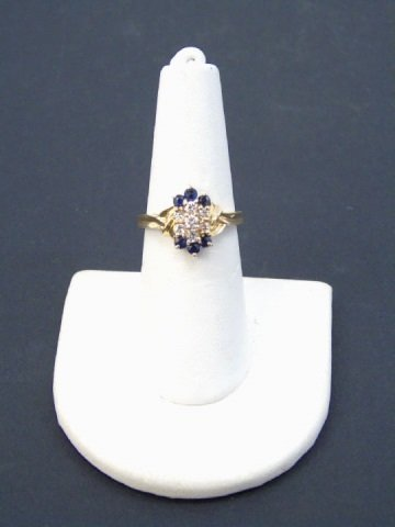 Diamond & Sapphire 14kt Yellow Gold Ring - 2
