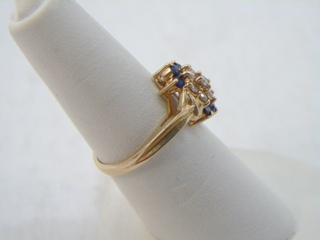 Diamond & Sapphire 14kt Yellow Gold Ring - 3