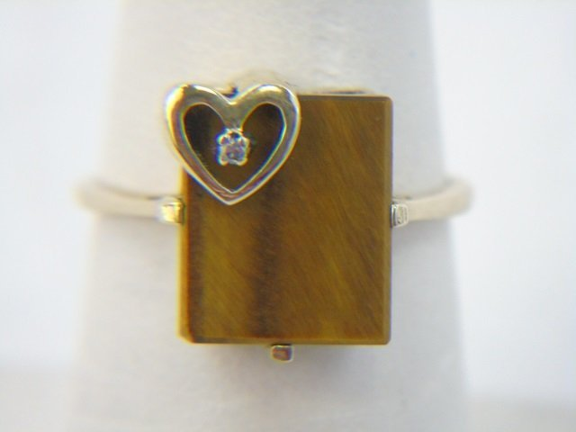Vintage Yellow Gold Tigers Eye & Diamond Ring