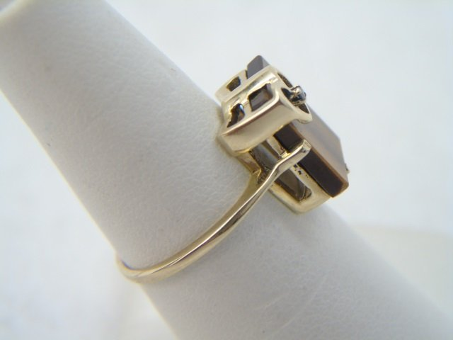 Vintage Yellow Gold Tigers Eye & Diamond Ring - 3