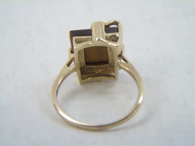 Vintage Yellow Gold Tigers Eye & Diamond Ring - 4
