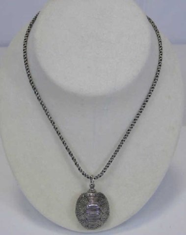 Sterling Silver Turtle Pill Box Locket Necklace