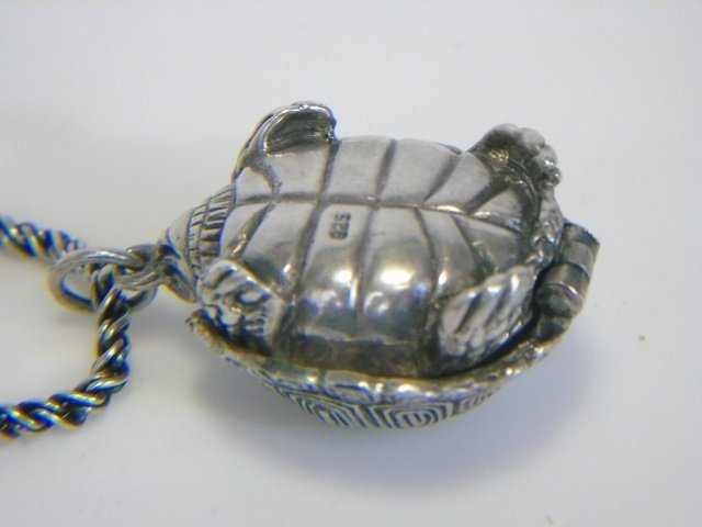 Sterling Silver Turtle Pill Box Locket Necklace - 5