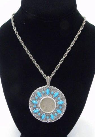 1937 Buffalo Nickel Pendant Necklace w/ Turquoise