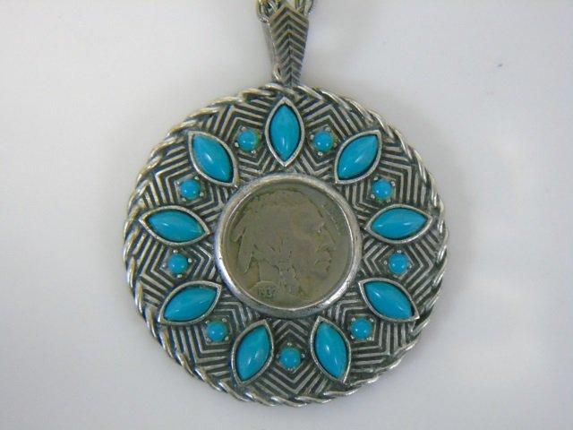 1937 Buffalo Nickel Pendant Necklace w/ Turquoise - 3