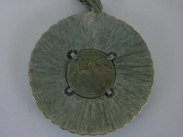 1937 Buffalo Nickel Pendant Necklace w/ Turquoise - 5
