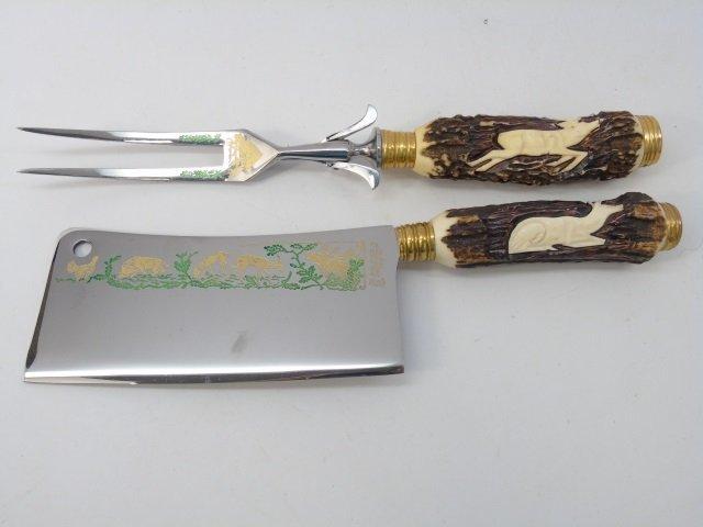 Vintage Carved Antler Utensil Set by Anton Wingen - 4