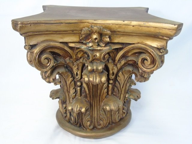 Antique Carved & Gilded Wood Corinthian Column - 3