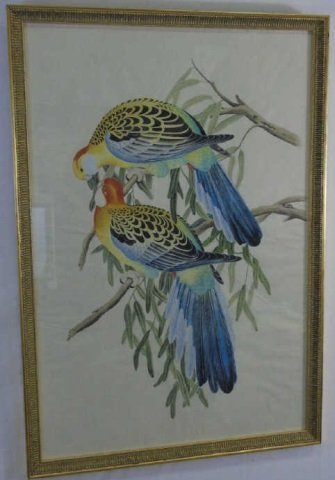 Antique Hand-Painted Watercolor Pair Birds Framed