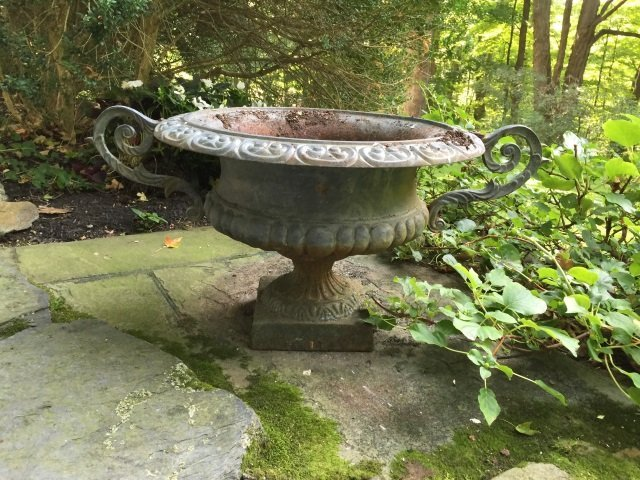 Pr Antique Victorian Cast Iron Garden Planter Urns