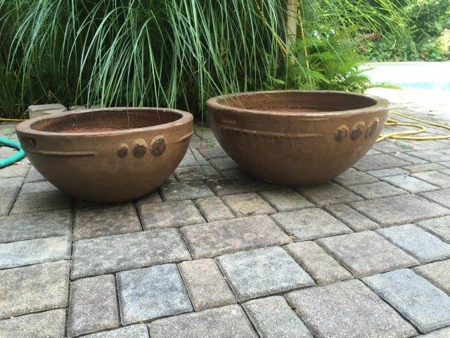 Two Contemporary Glazed Garden Planter Pots