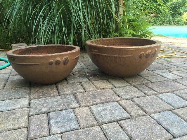 Two Contemporary Glazed Garden Planter Pots - 2