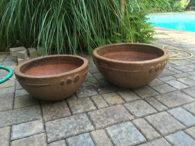 Two Contemporary Glazed Garden Planter Pots - 5