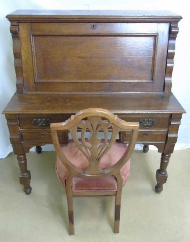 Antique C 1900 Slant Front Secretary Desk & Chair
