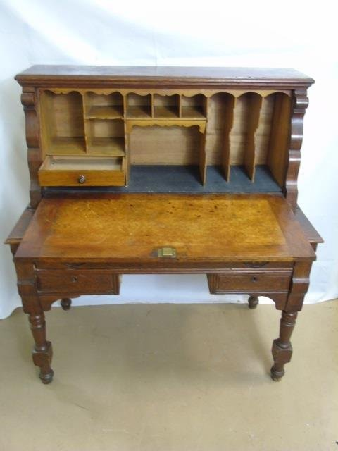 Antique C 1900 Slant Front Secretary Desk & Chair - 3