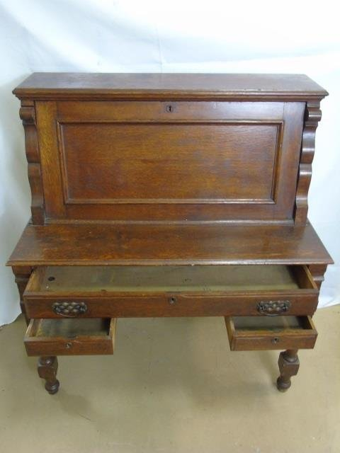 Antique C 1900 Slant Front Secretary Desk & Chair - 4