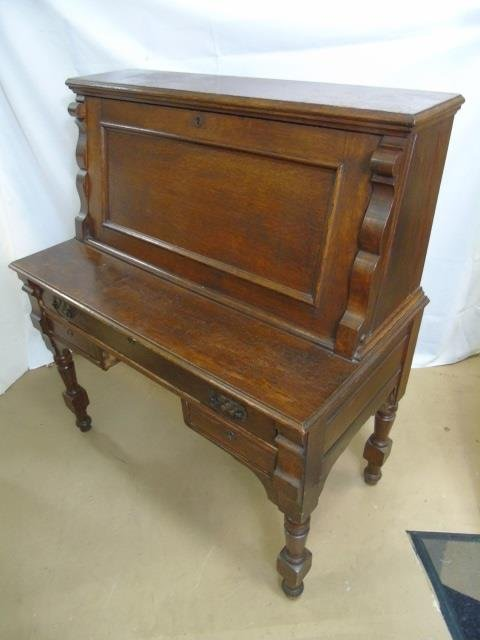 Antique C 1900 Slant Front Secretary Desk & Chair - 5