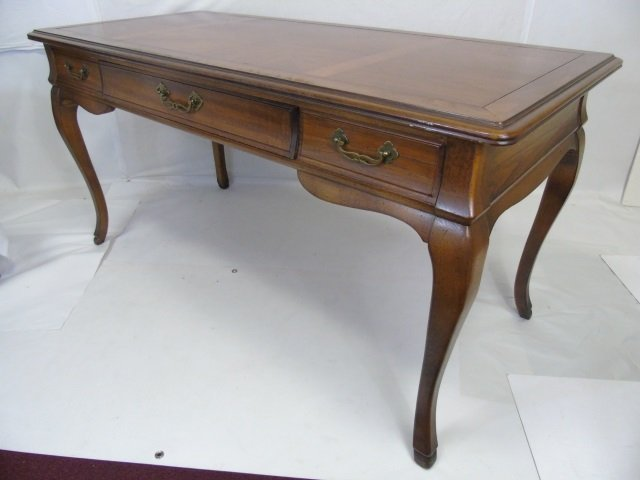 Traditional Style Cabriole Leg 3 Drawer Desk - 2