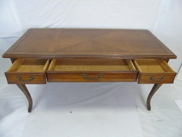 Traditional Style Cabriole Leg 3 Drawer Desk - 3