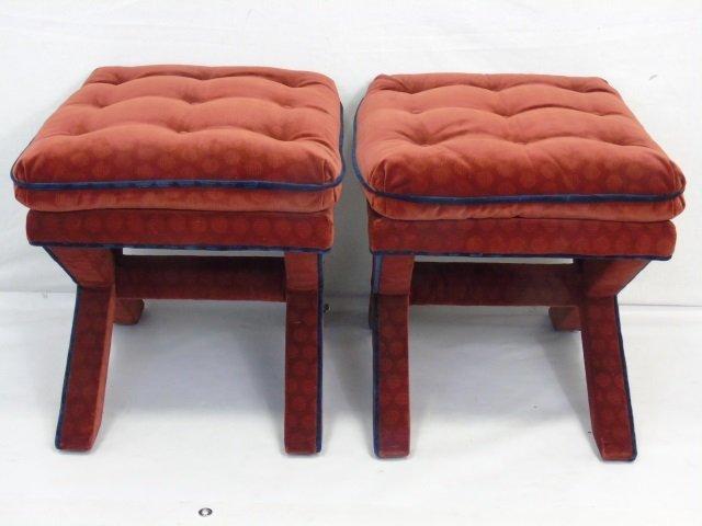 Pair of Custom Made Velvet Upholstered Ottomans