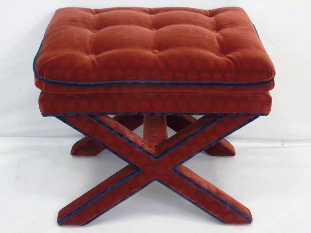 Pair of Custom Made Velvet Upholstered Ottomans - 2