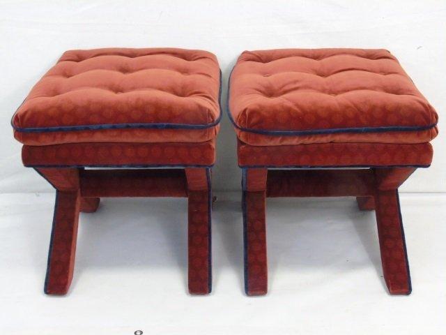 Pair of Custom Made Velvet Upholstered Ottomans - 4