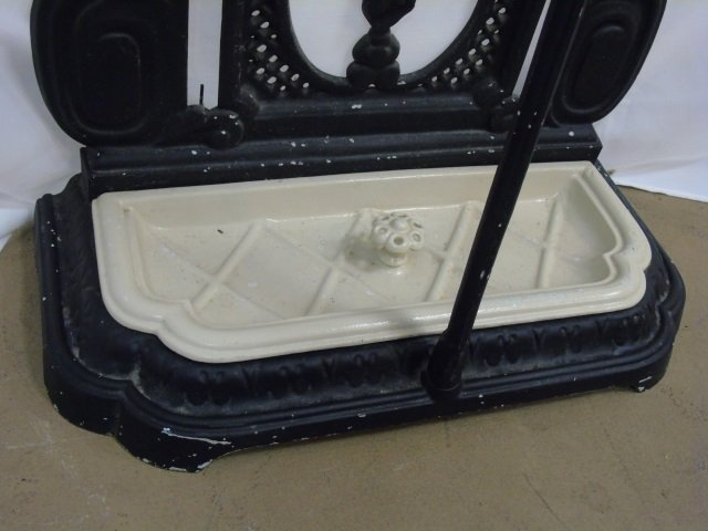 Victorian Style Cast Iron & Porcelain Hall Stand - 2