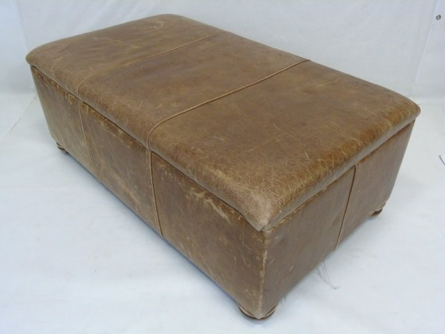 Contemporary Distressed Leather Ottoman Trunk