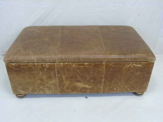 Contemporary Distressed Leather Ottoman Trunk - 2