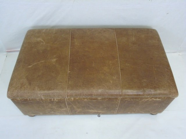 Contemporary Distressed Leather Ottoman Trunk - 3