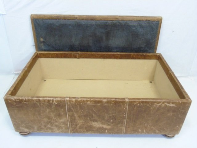 Contemporary Distressed Leather Ottoman Trunk - 4