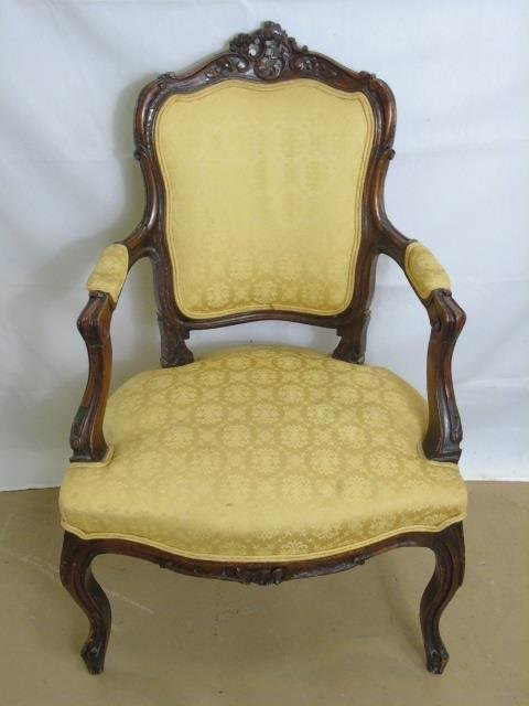 Carved Mahogany Tone French Rococo Style Chair