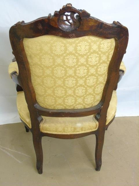 Carved Mahogany Tone French Rococo Style Chair - 2