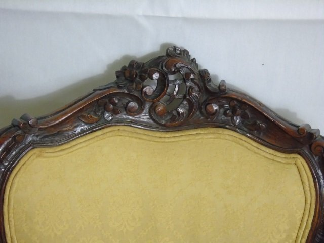 Carved Mahogany Tone French Rococo Style Chair - 3
