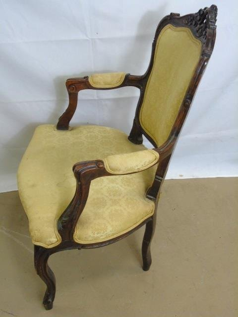 Carved Mahogany Tone French Rococo Style Chair - 4