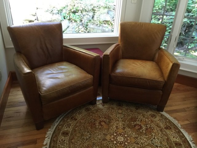 Pair Contemporary Brown Leather Armchairs