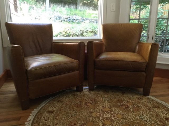 Pair Contemporary Brown Leather Armchairs - 2