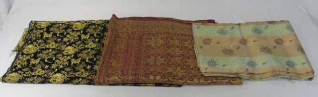 Three Vintage Silk & Fabric Chinese Table Runners