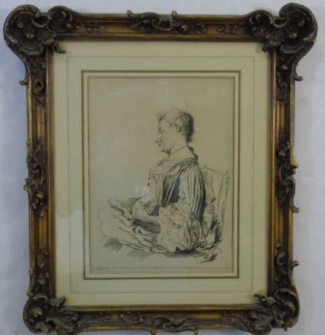 Antique Framed French Print After Watteau