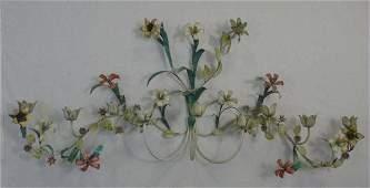 Large Vintage Tole Metal Floral Motif Wall Sconce