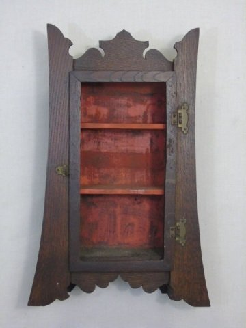 Antique Arts & Crafts Style Wall Curio Cabinet