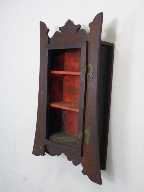 Antique Arts & Crafts Style Wall Curio Cabinet - 2