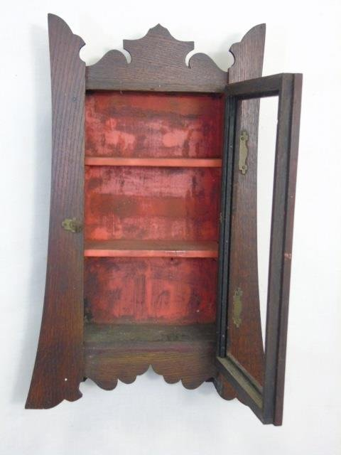 Antique Arts & Crafts Style Wall Curio Cabinet - 3