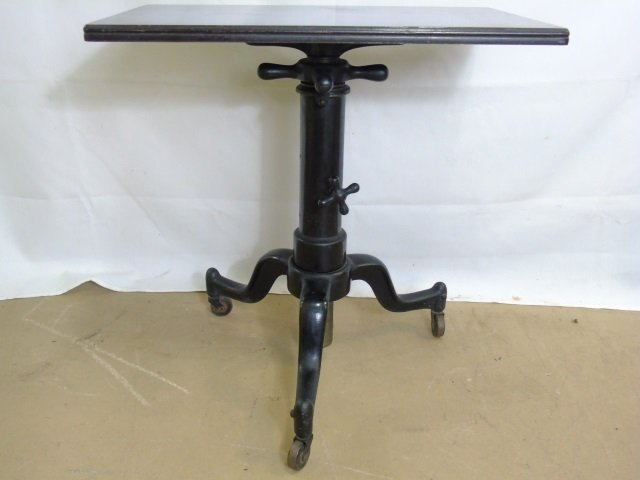 Antique Industrial Adjustable Height End Table - 2
