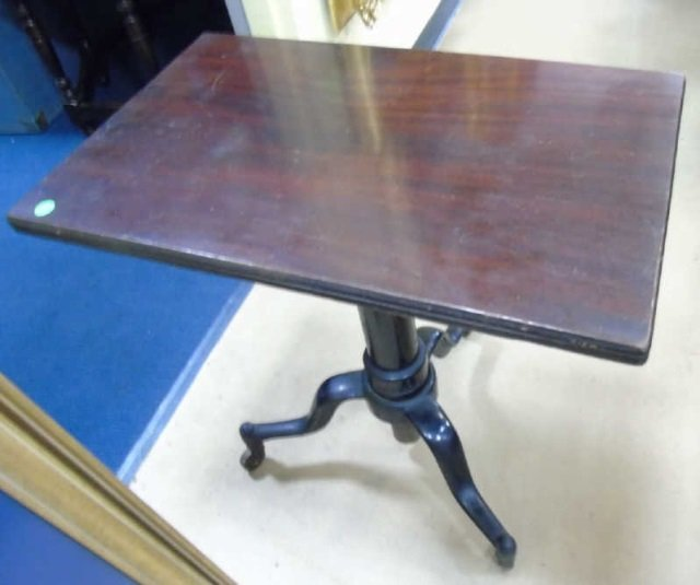Antique Industrial Adjustable Height End Table - 5