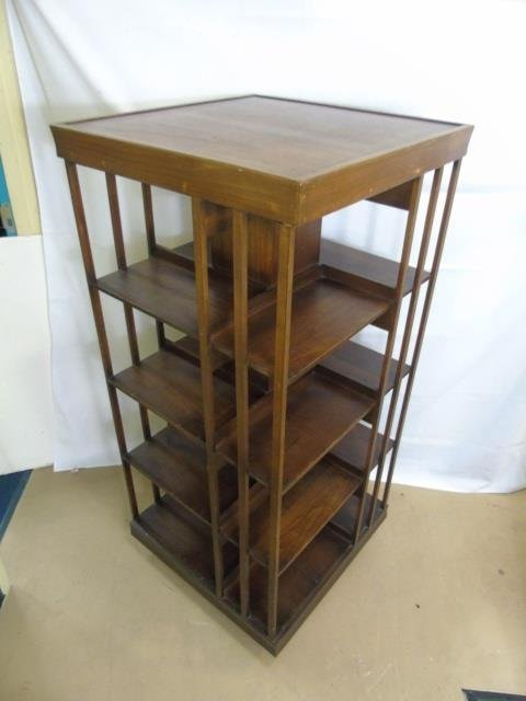 Mahogany Tone Revolving Library Stand Bookcase