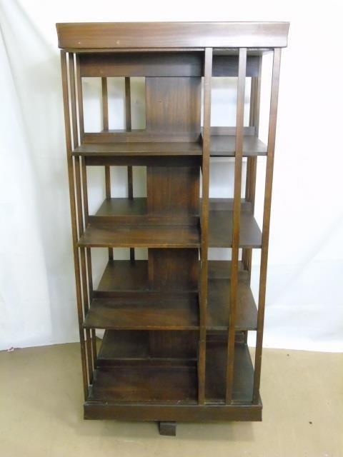 Mahogany Tone Revolving Library Stand Bookcase - 2