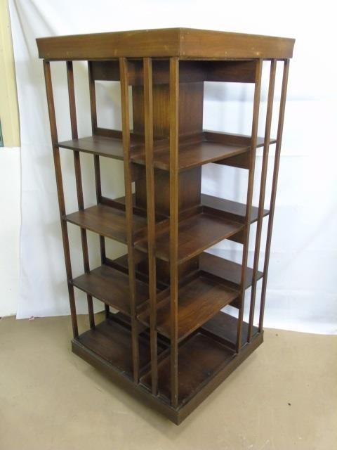 Mahogany Tone Revolving Library Stand Bookcase - 3